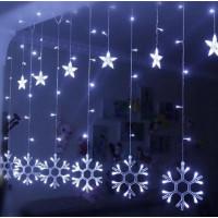 гирлянда звезды снежинки синий