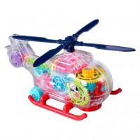 Вертолет детский из шестеренок,прозрачный,со световыми и музыкальными эффектами