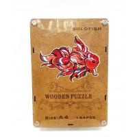 """Деревянный пазл """"Wooden Puzzle"""" Золотая рыбка в шкатулке А4 ( 144 детали )"""