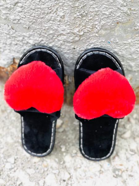 меховые тапочки сердце крас
