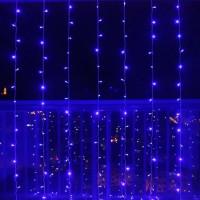 гирлянда штора синяя