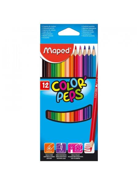 """Цветные карандаши Maped """"Color Pep's"""", 12 цветов, трехгранные"""