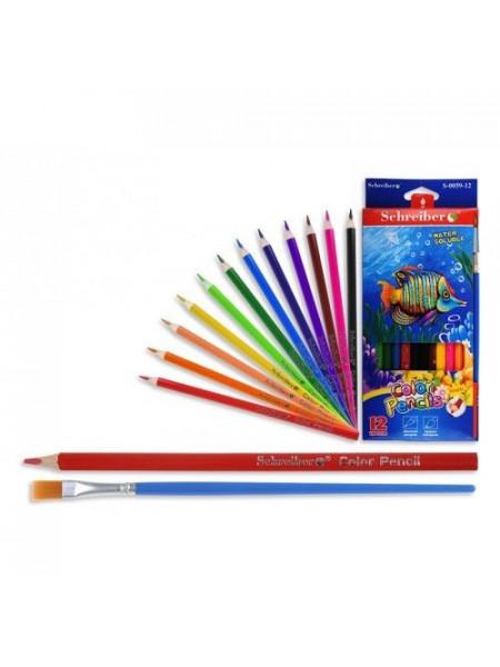 SCHREIBER Карандаши цветные акварельные 12цв.