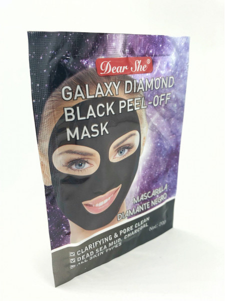 Маска для лица Dear She galaxy diamond blue peel-off mask ( черная)