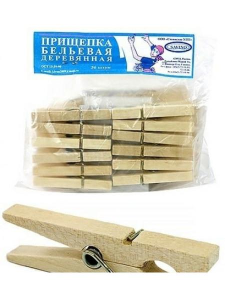 Прищепка бельевая деревянная, 36шт