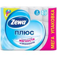 Туалетная бумага Zewa Плюс белая 2 слоя, 12 рулонов