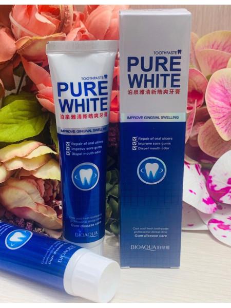 Отбеливающая зубная паста Pure White от Bioaqua, 120 гр( синяя)