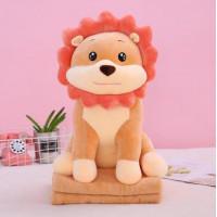 мягкая игрушка лев с пледом 3 в 1